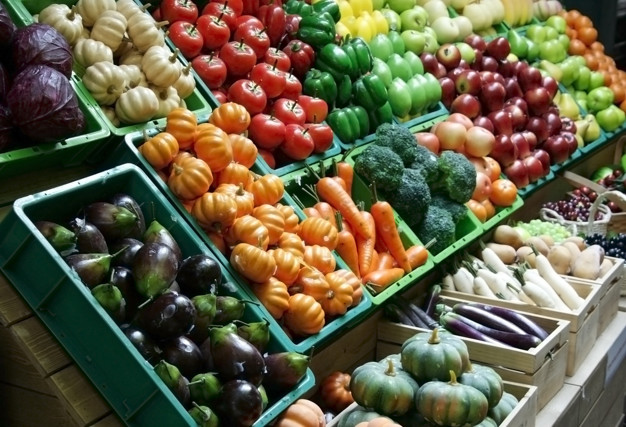 fruit and vegetable stall in the market